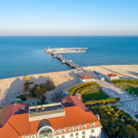 Sopot resort near Gdansk in Poland.  Wooden pier with harbor, ma
